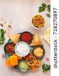traditional indian vegetarian... | Shutterstock . vector #718270897