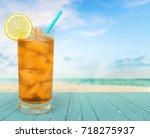 cocktail on beach.   Shutterstock . vector #718275937