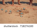people playing bocce sport with ... | Shutterstock . vector #718276183