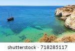 coastline algarve portugal with ...   Shutterstock . vector #718285117
