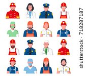 working people avatars.... | Shutterstock .eps vector #718287187