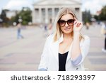 young girl in stylish... | Shutterstock . vector #718293397