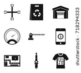 auto repair icons set. simple... | Shutterstock .eps vector #718294333