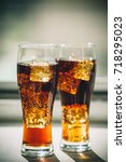 beautiful cold drink of cola... | Shutterstock . vector #718295023
