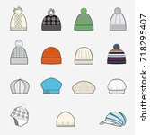 set of knitted cap sketches ... | Shutterstock .eps vector #718295407