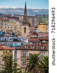 the port city of santander ... | Shutterstock . vector #718296493