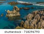 the port city of santander ... | Shutterstock . vector #718296793