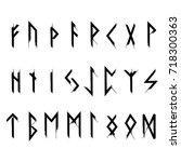 futhark runes black | Shutterstock .eps vector #718300363