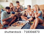group of happy young friends... | Shutterstock . vector #718306873