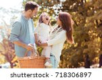 happy family playing together... | Shutterstock . vector #718306897
