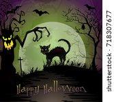halloween night scene with...   Shutterstock .eps vector #718307677