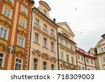 prague architecture  beautiful... | Shutterstock . vector #718309003