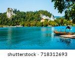 bled castle on the lake ... | Shutterstock . vector #718312693