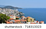view to the port and downtown... | Shutterstock . vector #718313323