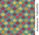 autumn maple leaves symmetrical ... | Shutterstock .eps vector #718314553