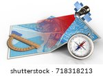 3d illustration of city map... | Shutterstock . vector #718318213