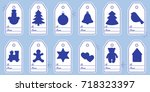 gift tags with new year and... | Shutterstock .eps vector #718323397