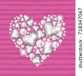vector shiny diamond heart on... | Shutterstock .eps vector #718347067