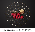 illustration for new year on a... | Shutterstock .eps vector #718355503