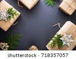 christmas handmade gift boxes... | Shutterstock . vector #718357057