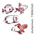 decorative fishes silhouette....   Shutterstock . vector #718362163
