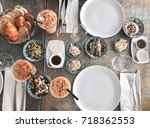 breakfast table prepared with a ... | Shutterstock . vector #718362553