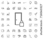 delivery to door line icon... | Shutterstock .eps vector #718363327