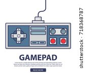 retro game pad .the joystick... | Shutterstock .eps vector #718368787
