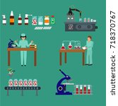 pharmaceutical production icons ... | Shutterstock .eps vector #718370767