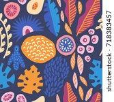 modern decorative exotic jungle ... | Shutterstock .eps vector #718383457