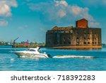 kronstadt. russia. fortified... | Shutterstock . vector #718392283