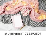 empty card mockup and a cup of... | Shutterstock . vector #718393807