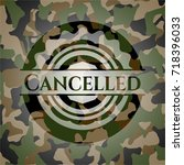 cancelled on camo pattern   Shutterstock .eps vector #718396033
