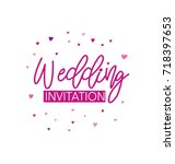 wedding invitation with pink... | Shutterstock .eps vector #718397653