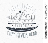 kayak and canoe vintage label ... | Shutterstock .eps vector #718398397