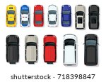 set of vector cars top view.... | Shutterstock .eps vector #718398847