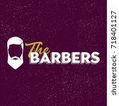 the barbers sign logo with man... | Shutterstock .eps vector #718401127