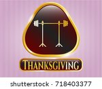 gold badge with barbell on... | Shutterstock .eps vector #718403377