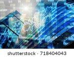stock market chart with... | Shutterstock . vector #718404043