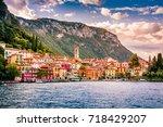 lake como  varenna  italy.... | Shutterstock . vector #718429207