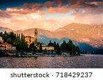 lake como  varenna  italy.... | Shutterstock . vector #718429237