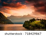 lake como  italy. people on a... | Shutterstock . vector #718429867