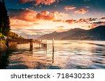 lake como sunrise  cadenabbia ... | Shutterstock . vector #718430233