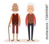grandparents group avatars... | Shutterstock .eps vector #718435087