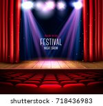 a theater stage with a red... | Shutterstock .eps vector #718436983