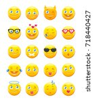 cute cartoon emoticons. emoji... | Shutterstock .eps vector #718440427