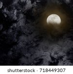 abstract night sky with full... | Shutterstock . vector #718449307