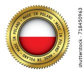 made in poland golden badge... | Shutterstock .eps vector #718450963