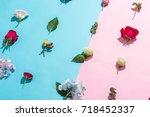many beautiful flower on pink... | Shutterstock . vector #718452337