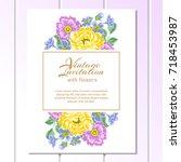 romantic invitation. wedding ...   Shutterstock .eps vector #718453987